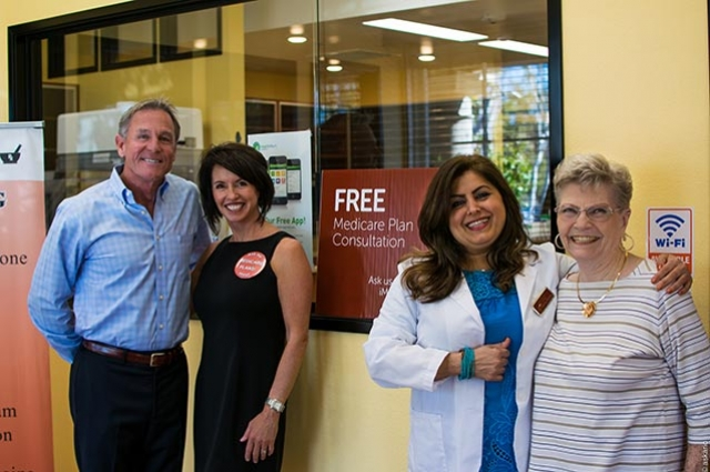 From (L): Stephen and Denice Merrill (Merrill Insurance Services), M.J. Kazemi (OC Pharmacy) and OC Pharmacy client Twila Warner.